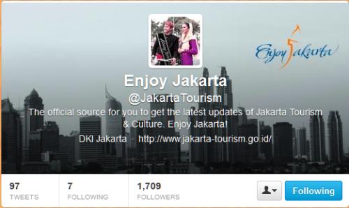bukti akun twitter saya sudah follow akun twitter dari @jakartatourism