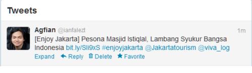screen shot tweet saya untuk mengikuti lomba blog V-log dan jakarta tourism