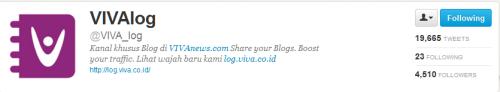 bukti akun twitter saya sudah follow akun @viva_log
