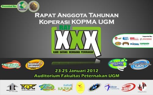 """Backdrop Rapat Anggota Tahunan Koperasi """"Kopma UGM"""" tahun 2012"""