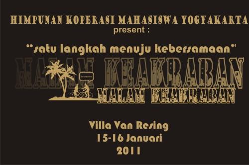 Backdrop makrab HKMY (Himpunan Koperasi Mahasiswa Yogyakarta) 2011