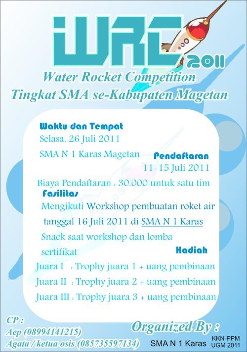 Poster water rocket competition untuk SMA/sederajat se-Kabupaten Magetan, 2011